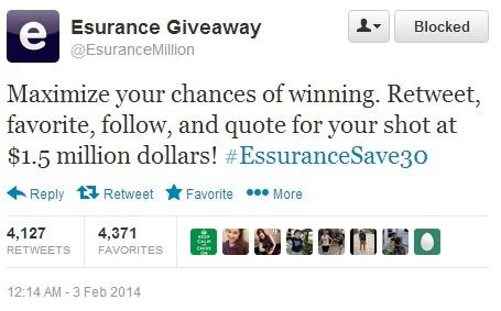 esurance giveaway scam tweet