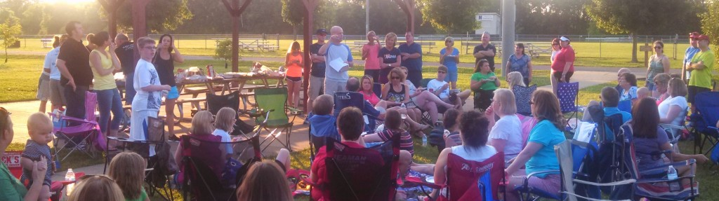 Scott Alexander addresses the Couch to 5K potluck celebration.